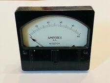 Vintage Panel Meter Weston Amperes Dc Meter 0 100