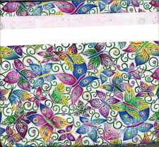 Colorful Metallic Butterflies on White quilt kit 46x58 Baby Crib Beginner Pink