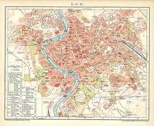 B14 alte Stadtkarte 1898: Valparaiso und Santiago Historische Chile farbig