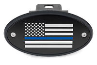 Thin Blue Line American Flag Black Receiver Hitch Cover -Police Support USA Made