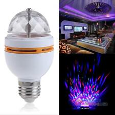 E27 3W Colorful Auto Rotating RGB Crystal LED Bulb Stage Light Party Lamp Disco