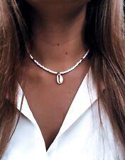 Damen Halskette gold Perlen Boho Muschel Anhänger Strand Perlenkette Blogger