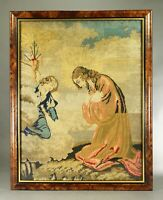=Antique c 1850 Petit Point Religious Needlework Embroidery Jesus & Angel, UK