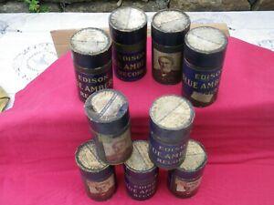 9 Edison Blue Amber Cylinder Records