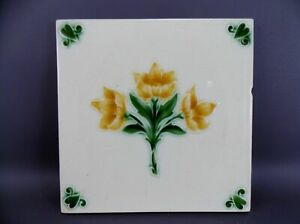 Antique  Majolica Tile  19th Tube-lined England M021