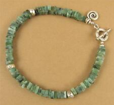 Emerald bracelet. Squares. Fine and sterling silver. Dangle. Handmade