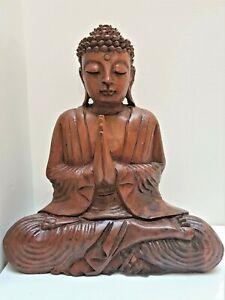 BUDDHA PRAYING HARD WOOD HAND CARVED SCULPTURE STATUE BALI BALINESE ART 25CM