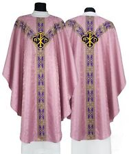 "Rose Semi Gothic Chasuble with stole ""Alfa & Omega"" GY211-R25 Casulla Rosa Kasel"