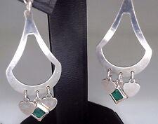 Pendientes de plata de ley con esmeralda natural