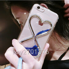 Bling Glitter Quicksand Hourglass Soft Back Phone Dynamic Cover Case & strap s1
