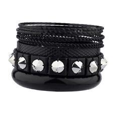 Lux Accessories Black Rocker Pyramid Spike Textured Mixed Metal Multiple Bangle