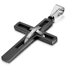 Men's Black Silver Double Hollow Cross Stainless Steel Pendant Necklace Gift