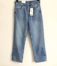 BNWT H&M & Denim Original Straight Fit High Waisted Cut-Off Blue Jeans UK 10 W28