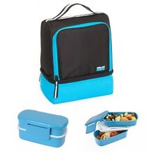 Bleu isotherme Compartiment Sac à lunch et Bento Lunch Box Bundle Set