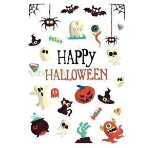 Halloween Tattoos Ghost Bat Spider Pumpkin Kids Adults Colourful