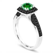 Platinum 1.21 Carat Enhanced Green Diamond Engagement Ring