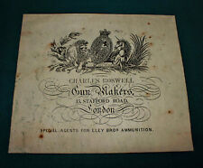 Charles Boswell Gunmaker REPRODUCTION Paper Gun Case Label Accessories