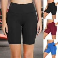 Women's Yoga Shorts Pockets High Waist Hot Pants Workout Gym Fitness Jogging A5