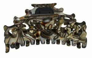 French Amie Beau Medium Handmade Onyx Silver Grey Jaw Hair Claw Clip Clamp