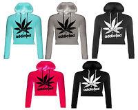 New Ladies Addicted Cropped Hooded Sweatshirt Hoodie Top Pullover Hoodie UK 8-14