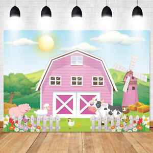 Backdrop Photography Video Background Cartoon Farm Animals Studio Props Vinyl  !