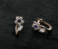 585 Russian Rose Red Gold 14ct Hoop Huggie Cluster Earrings Gift Boxed