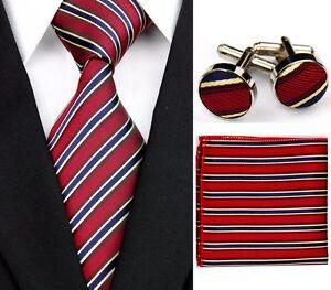 Dark Red 100% Pure Silk Neck Tie Cuff-link & Handkerchief Set Blue & Gold Stripe