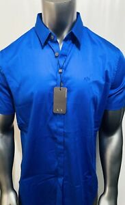 New Armani Exchange Men's STRETCH COTTON SHORT SLEEVE SHIRT
