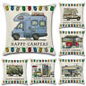 Home Decor Pillowcase HAPPY CAMPERS Waist Throw Back Cushion Cover Pillow Case