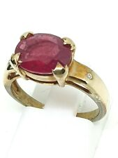 9ct yellow gold ruby 2.1ct and diamond ring size N ½ full hallmarked