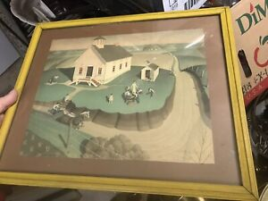 """Arbor Day  by Grant Wood Framed Old Print 17x14"""" Dated 1938"""