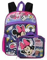 Disney Minnie Mouse Girls School Backpack Insulated Lunch Box Book Bag SET Kids