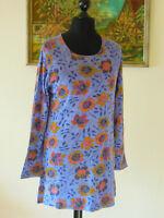 Shirt Longshirt von GUDRUN SJÖDEN Gr. L blau mit Blumen