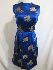 Vtg. 50's-60's Vanny of Hong Kong Royal Blue & Gold Silk  Brocade Dress Sz M/L