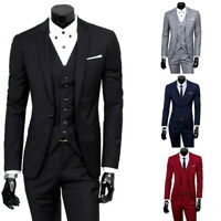 3Pcs Mens Formal Blazer Suit Jacket Tux Vest Waistcoat Trousers Wedding Dress IN