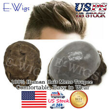 US Full Poly Mens Toupee Thin Skin Hairpieces Durable PU Human Hair Systems PAPY