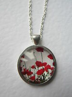 Red Poppy Poppies Design Silver Pendant Glass Necklace New in Gift Bag