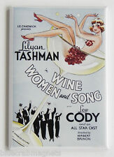 Wine Women & Song FRIDGE MAGNET (2.5 x 3.5 inches) movie poster champagne glass