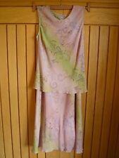 Wallis pink green floral floaty wedding cruise top skirt suit dress size 12 vgc