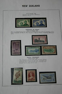 Set Of 9 Key New Zealand Stamps from 1944, 1948 & 1955 on Display Sheet. MNH