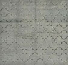 Moroccan Trellis Rug Hi-Lo Pile, 8'x8', Grey, Hand-Knotted Wool Pile