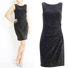 EX DOROTHY PERKINS Sparkly Black Party Dress 8,10,18 Bodycon Sleeveless, Knee Le
