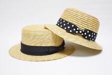 Mens Flat Brim Maize Straw Boater Hat Fedora Women's Straw Bowler Cloche Hat