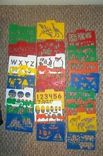 Lot of 25 assorted Plastic Children's Stencils HFC Highlights