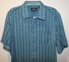 Nat Nast Mens Teal Blue Geometric 100% Silk S/S Button-Front Shirt NWT $155 L