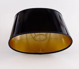 Lampenschirm Elegant Schwarz Gold Lack Oval Für  Tischlampen E27 Hochwertig 25cm