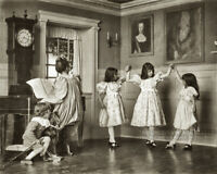 Vintage 1895 Photo Three Girls Dancing Mother Playing Piano Victorian Era Dress