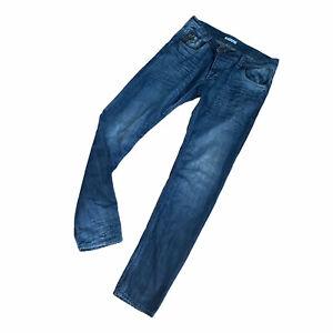 Men's TERRANOVA Teddy jeans size W34 L34 button fly slim straight leg cotton