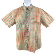 Camel Active Men's Shirt Short Sleeve Button Down Green Orange Plaid Sz: M