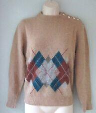Vintage Mohair Angora Beige Argyle Fuzzy Sweater Filenes Boston Womens Medium